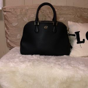 Tory Burch Landon Triple Zip Satchel Black Purse